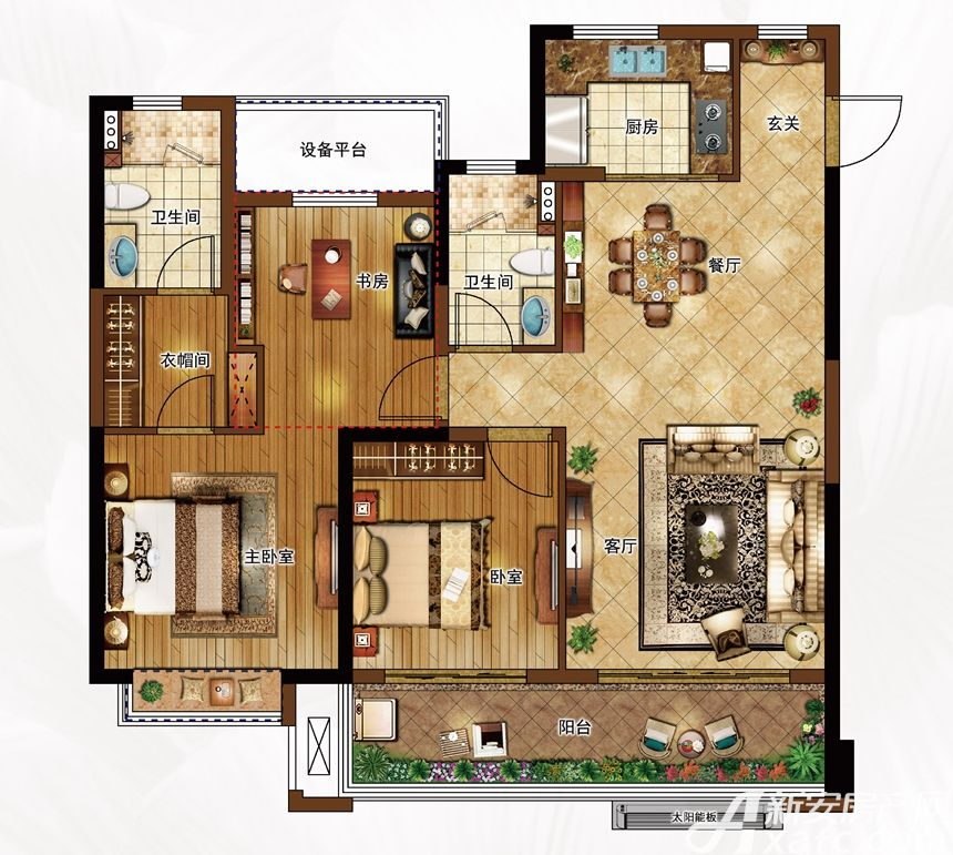 合景庐月湾115-118㎡G3户型图3室2厅115平米