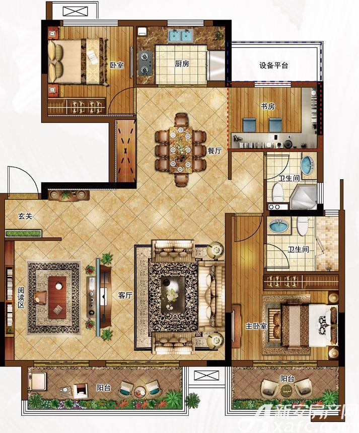合景庐月湾130㎡Y3户型图3室2厅130平米