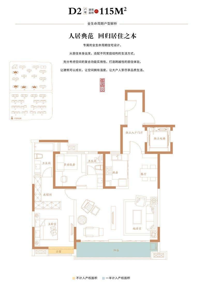 万创御香山D2户型3室2厅115平米