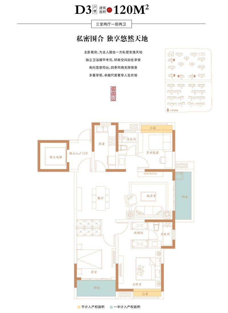 万创御香山D3户型3室2厅120平米