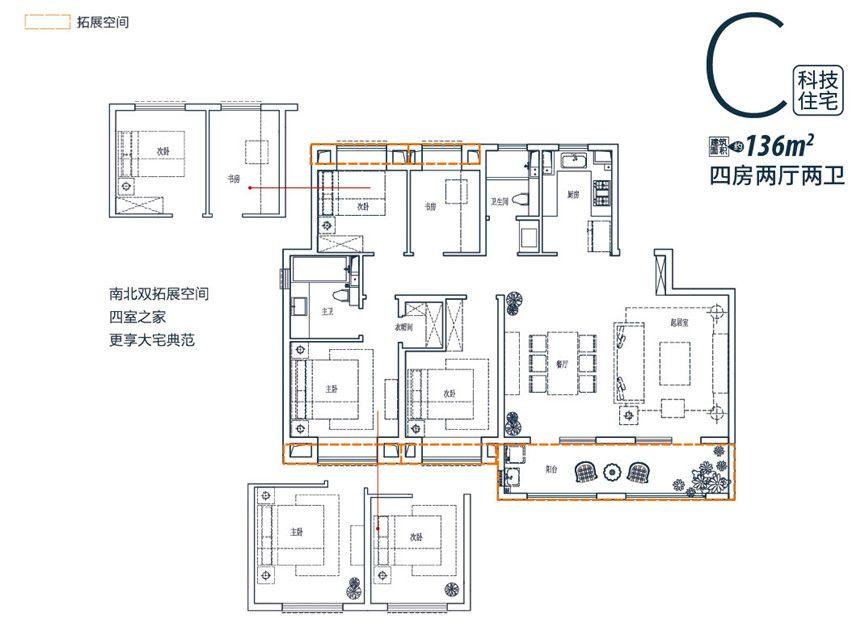 皖新翡翠庄园C户型4室2厅136平米