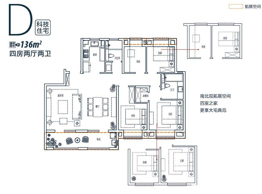 皖新翡翠庄园D户型4室2厅136平米