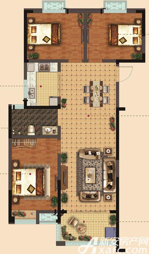 静安阳光城在水一方24#A户型3室2厅114平米