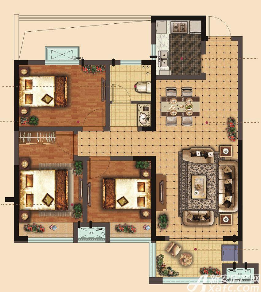 静安阳光城在水一方24#B户型3室2厅100平米