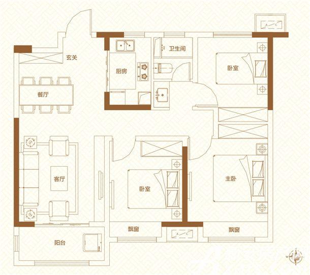 鸿坤理想城高层13室1厅98平米