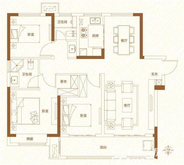 鸿坤理想城高层23室1厅116平米