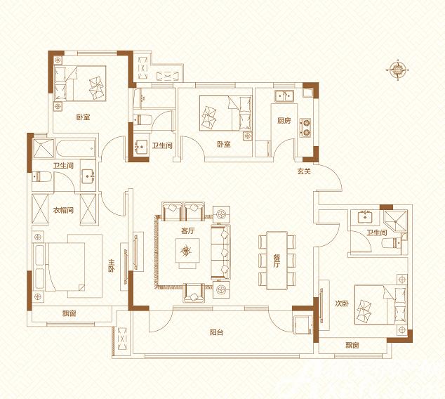 鸿坤理想城高层4室1厅143平米