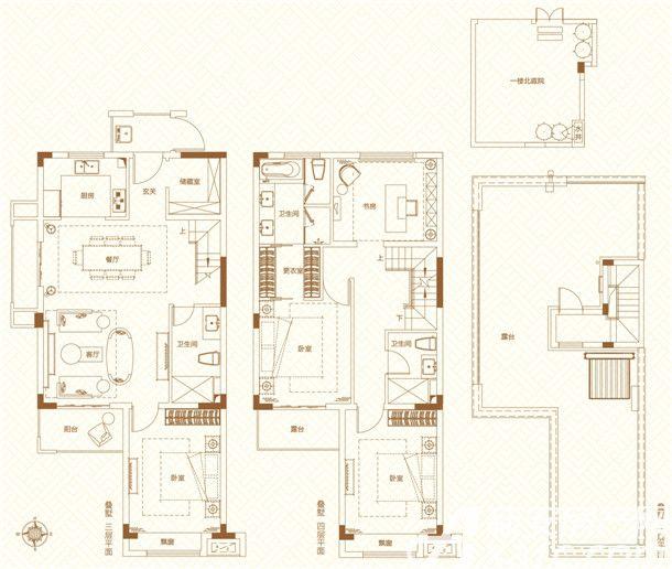 鸿坤理想城叠墅4室2厅164平米