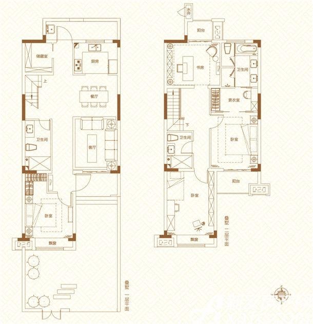 鸿坤理想城叠墅13室2厅150平米
