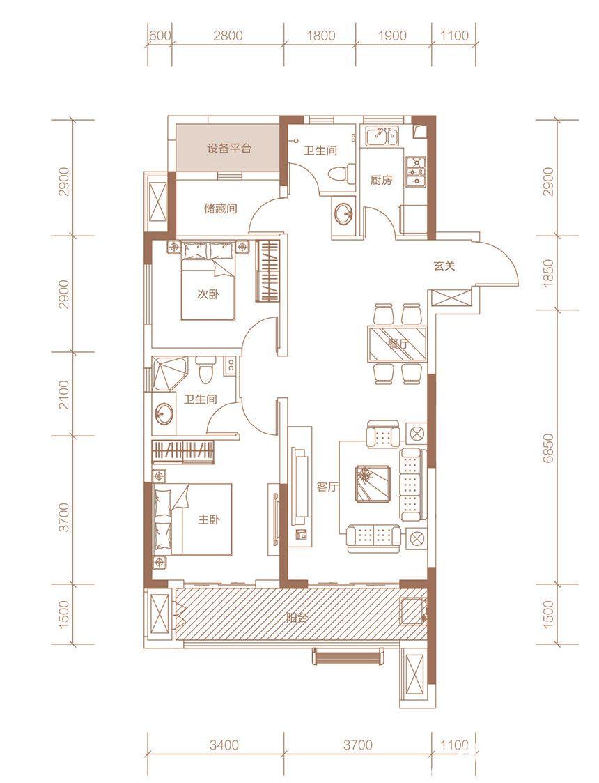 力高澜湖前城C户型3室2厅103平米