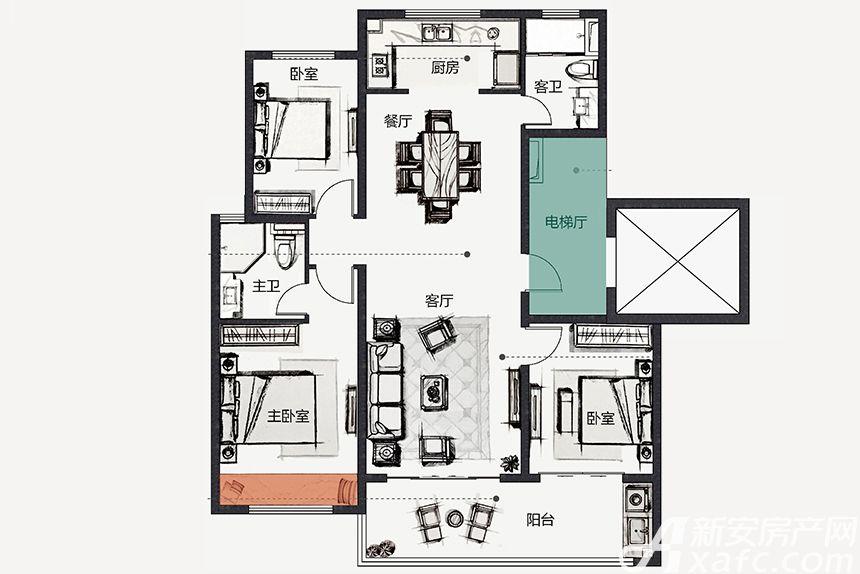 伟星金悦府铂悦户型3室2厅123平米