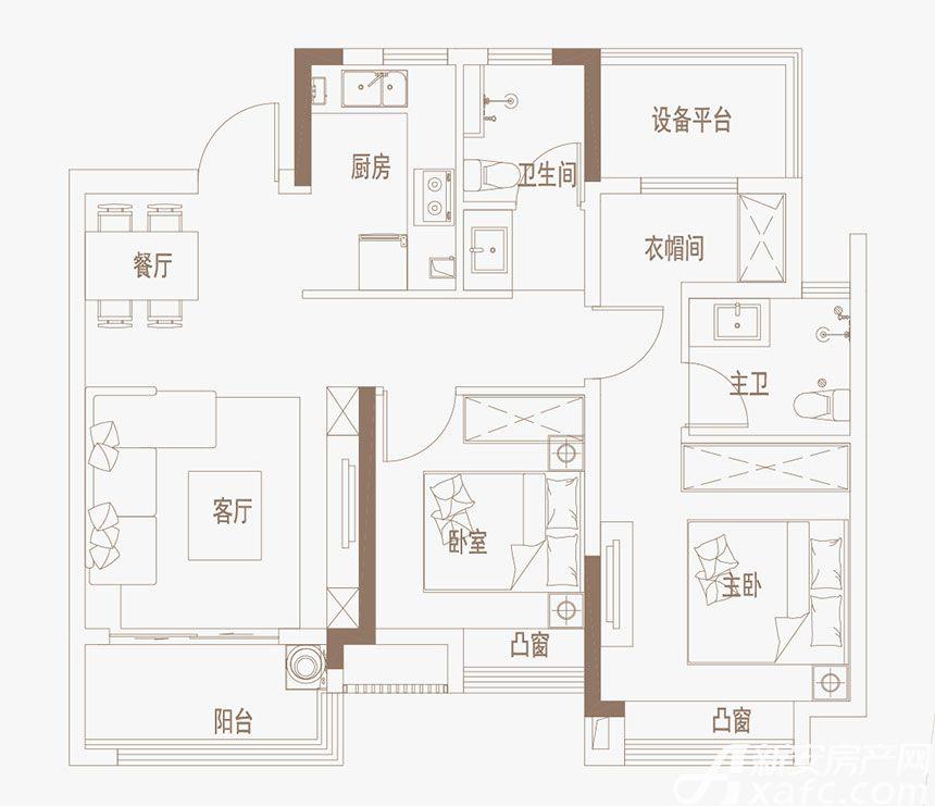 御璟江山G10、G11户型3室2厅85平米