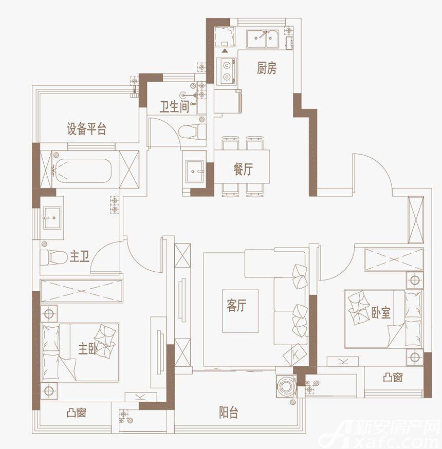 御璟江山G07户型边户3室2厅96平米