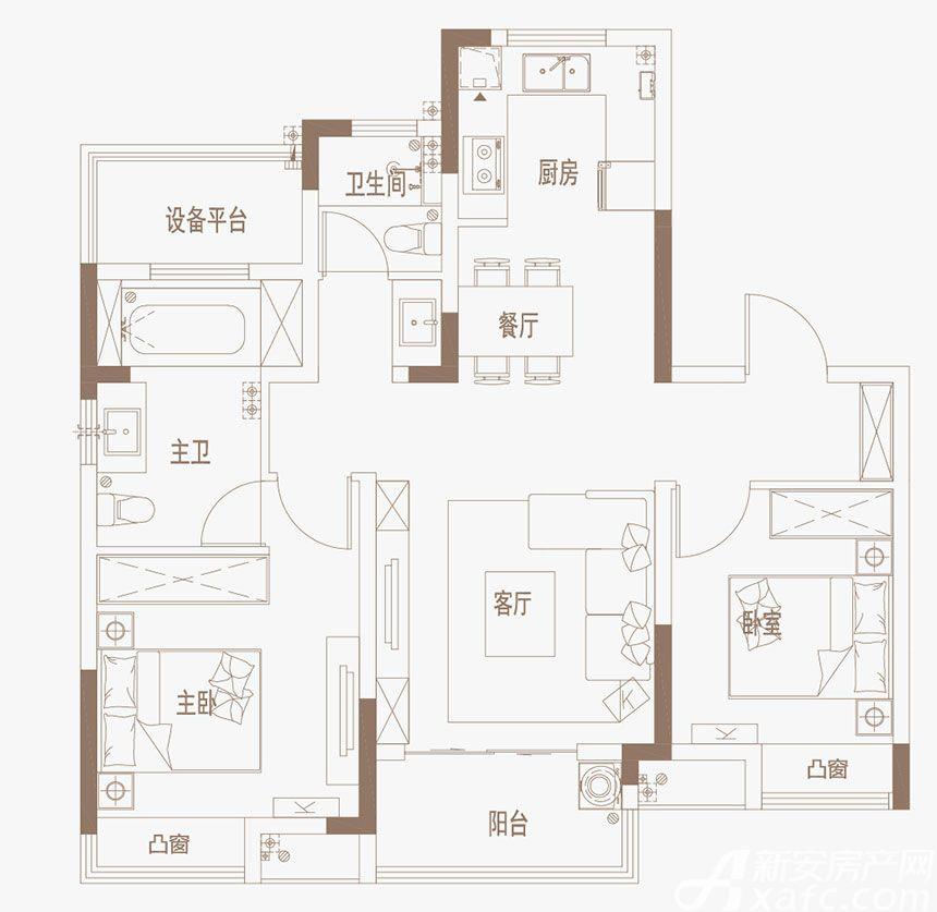 御璟江山G08、G09|B户型3室2厅97平米