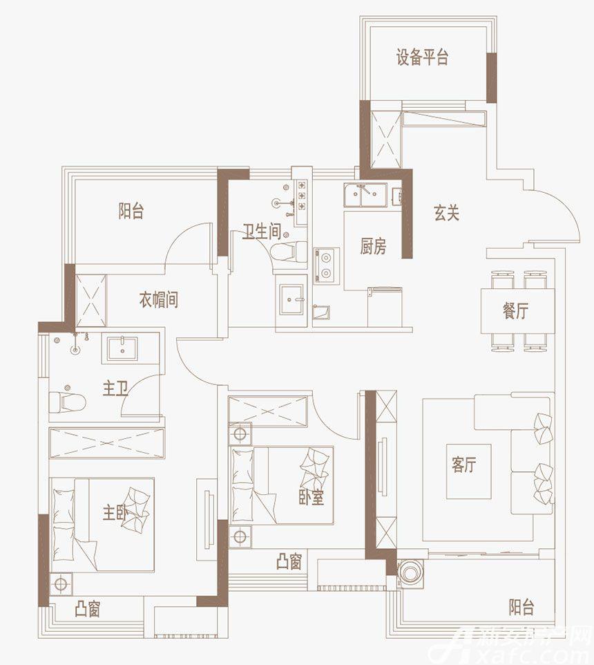 御璟江山G10、G11户型4室2厅101平米