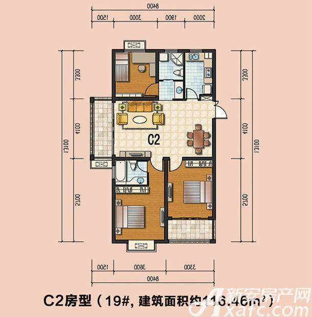 通成紫都19#C2户型3室2厅116.46平米
