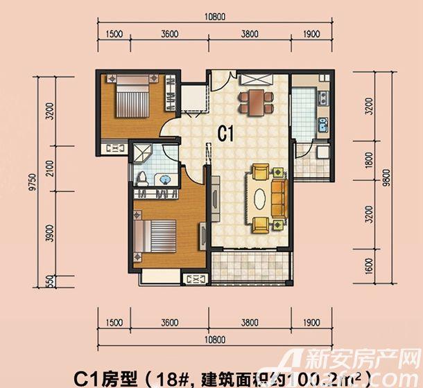 通成紫都18#C1户型2室2厅100.2平米