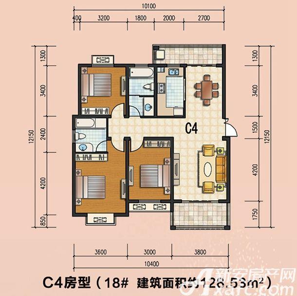 通成紫都18#C4户型3室2厅128.53平米