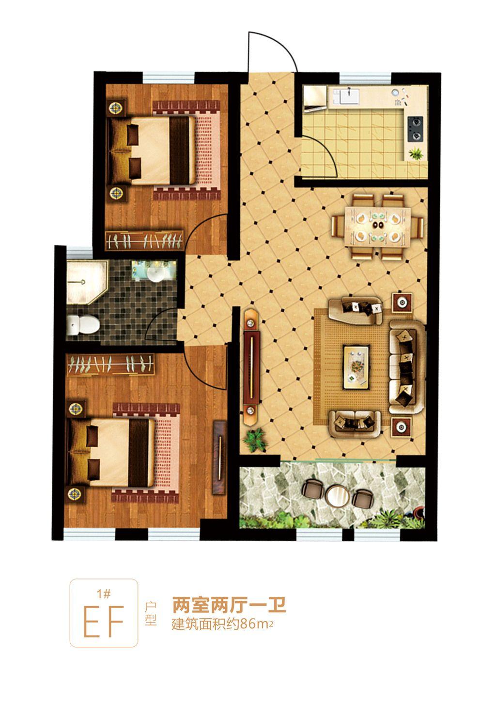 富安德森广场1# EF2室2厅86平米