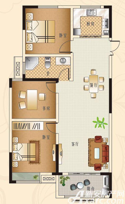 观湖花园B1户型3室2厅116平米