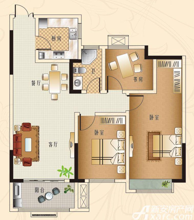 观湖花园B2户型3室2厅114平米