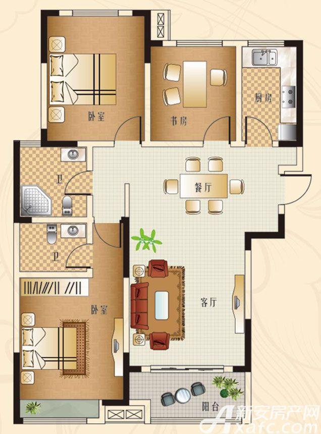 观湖花园C1户型3室2厅132平米