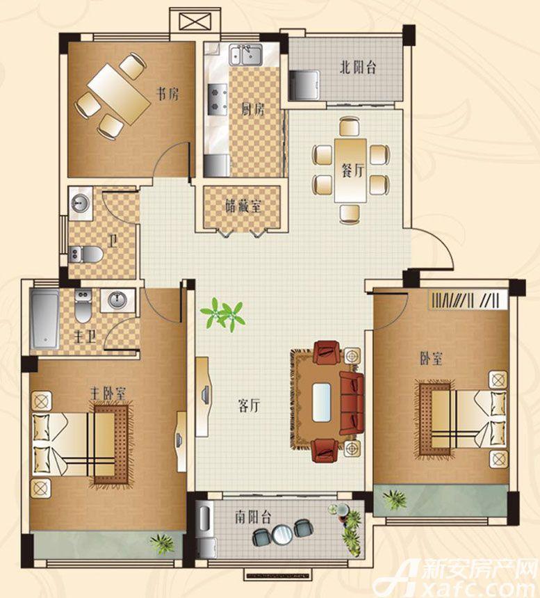 观湖花园D1户型3室2厅132平米