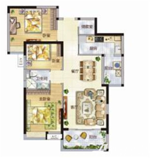 东菱城市新地C23室2厅108平米