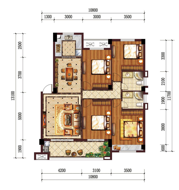 公园道B区御湖B4室2厅128.38平米