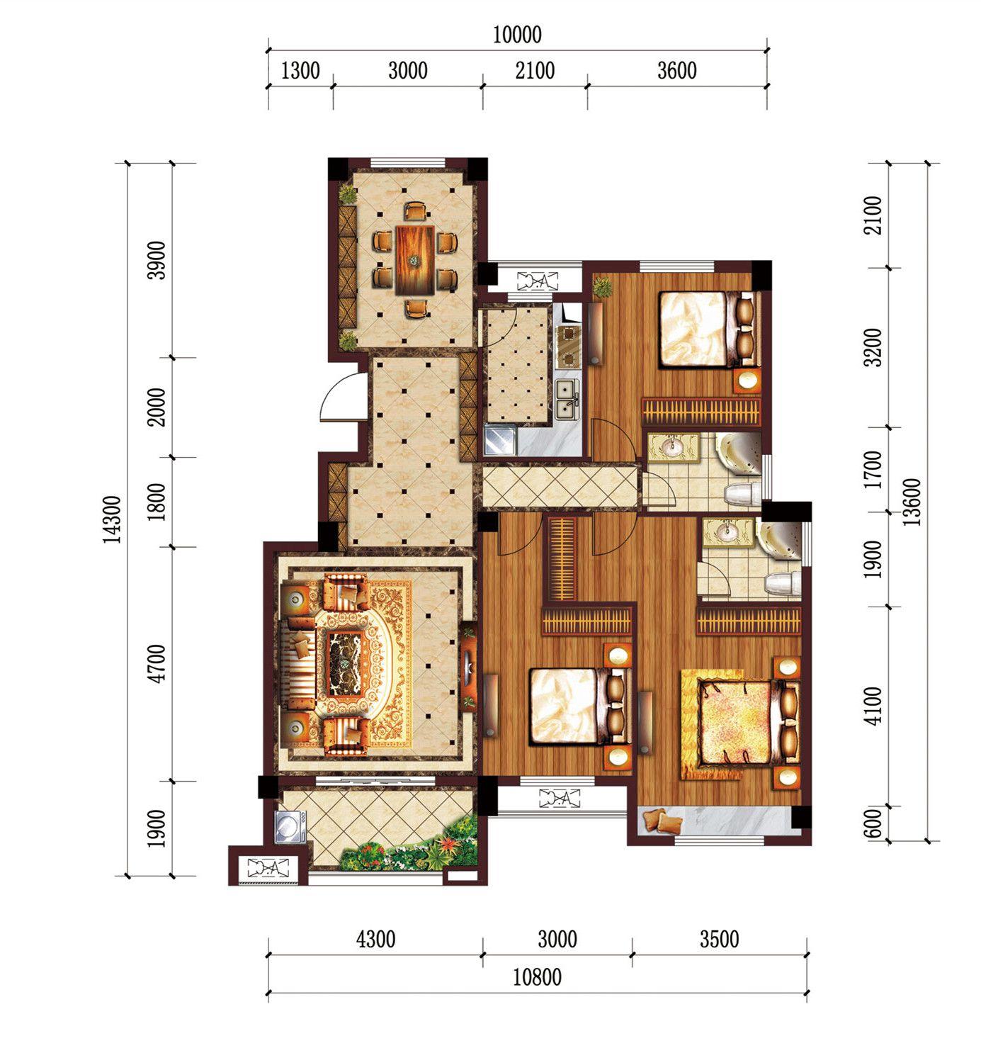 公园道B区御湖C3室2厅126.37平米