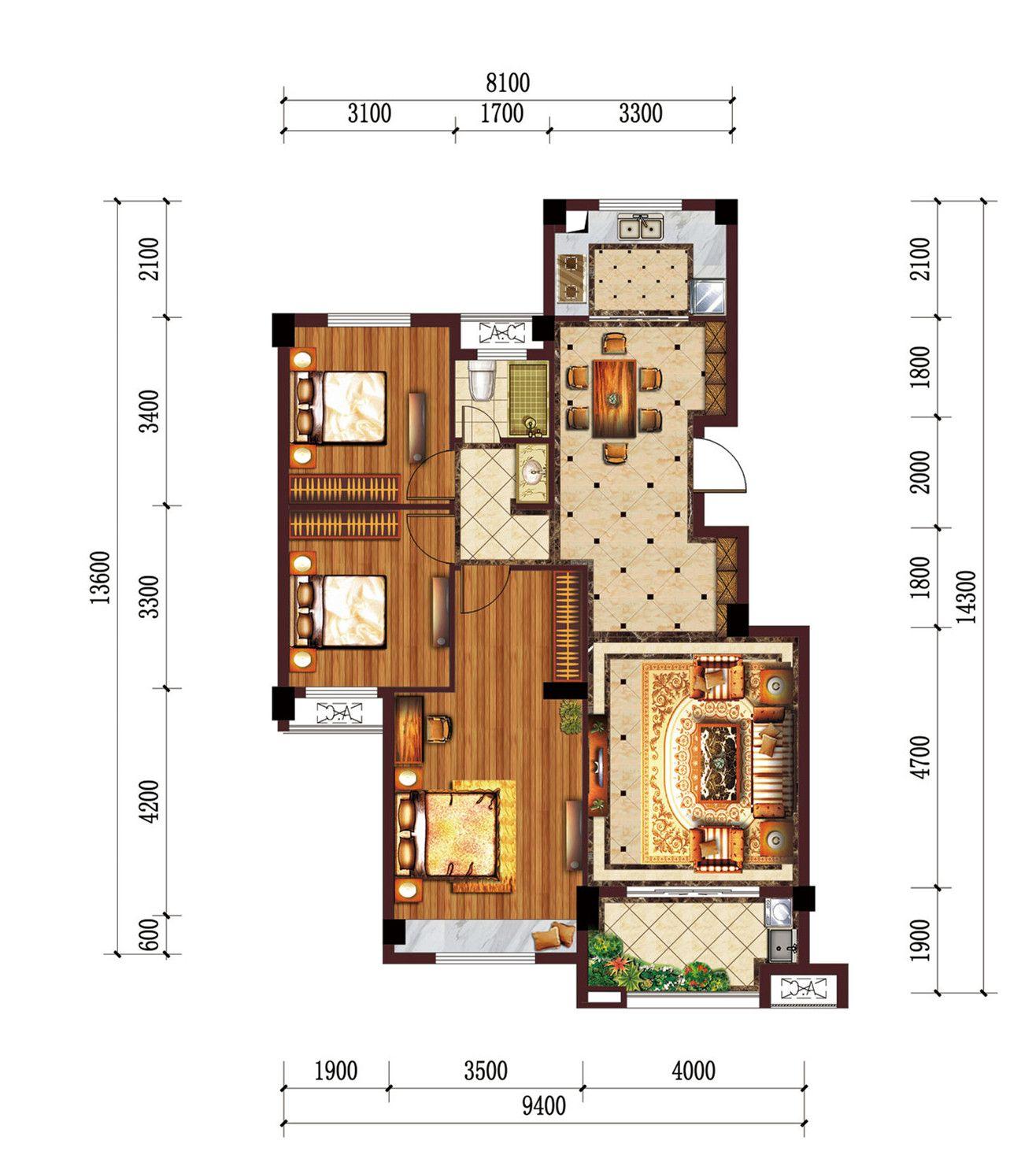 公园道B区御湖D3室2厅107.07平米
