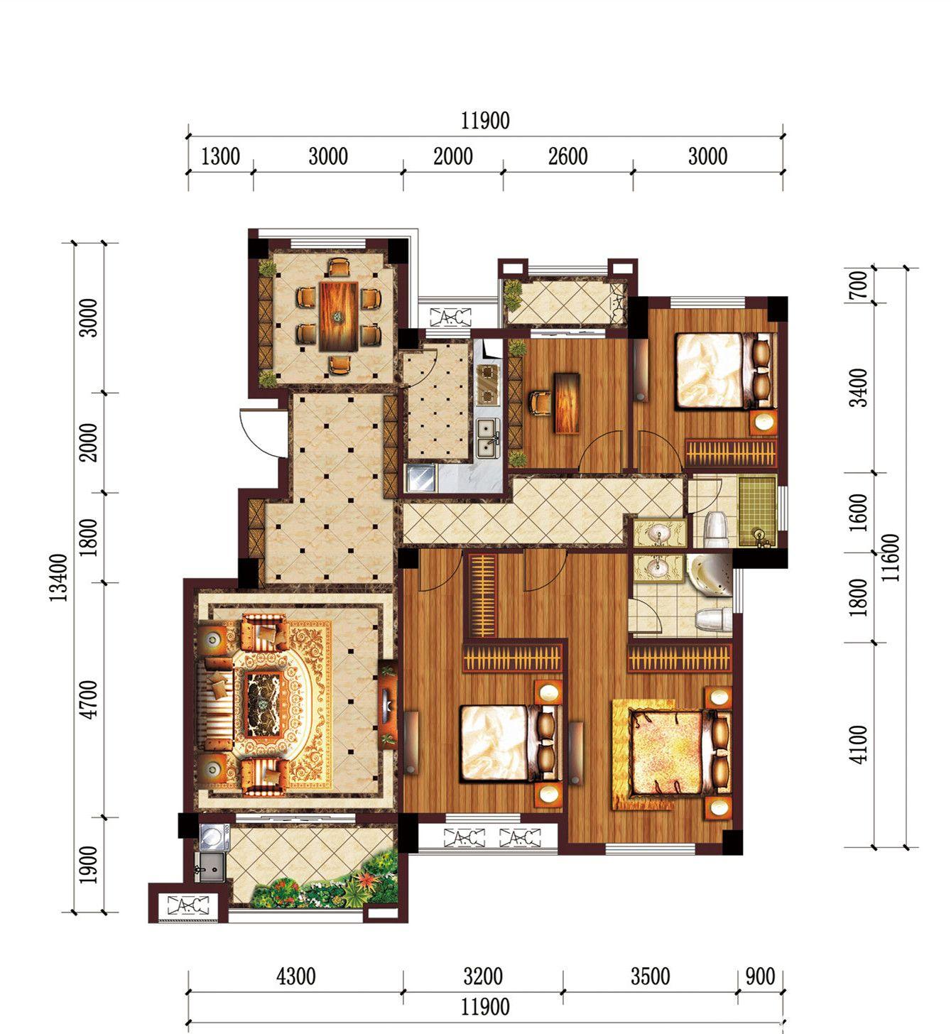 公园道B区御湖E24室2厅134.14平米