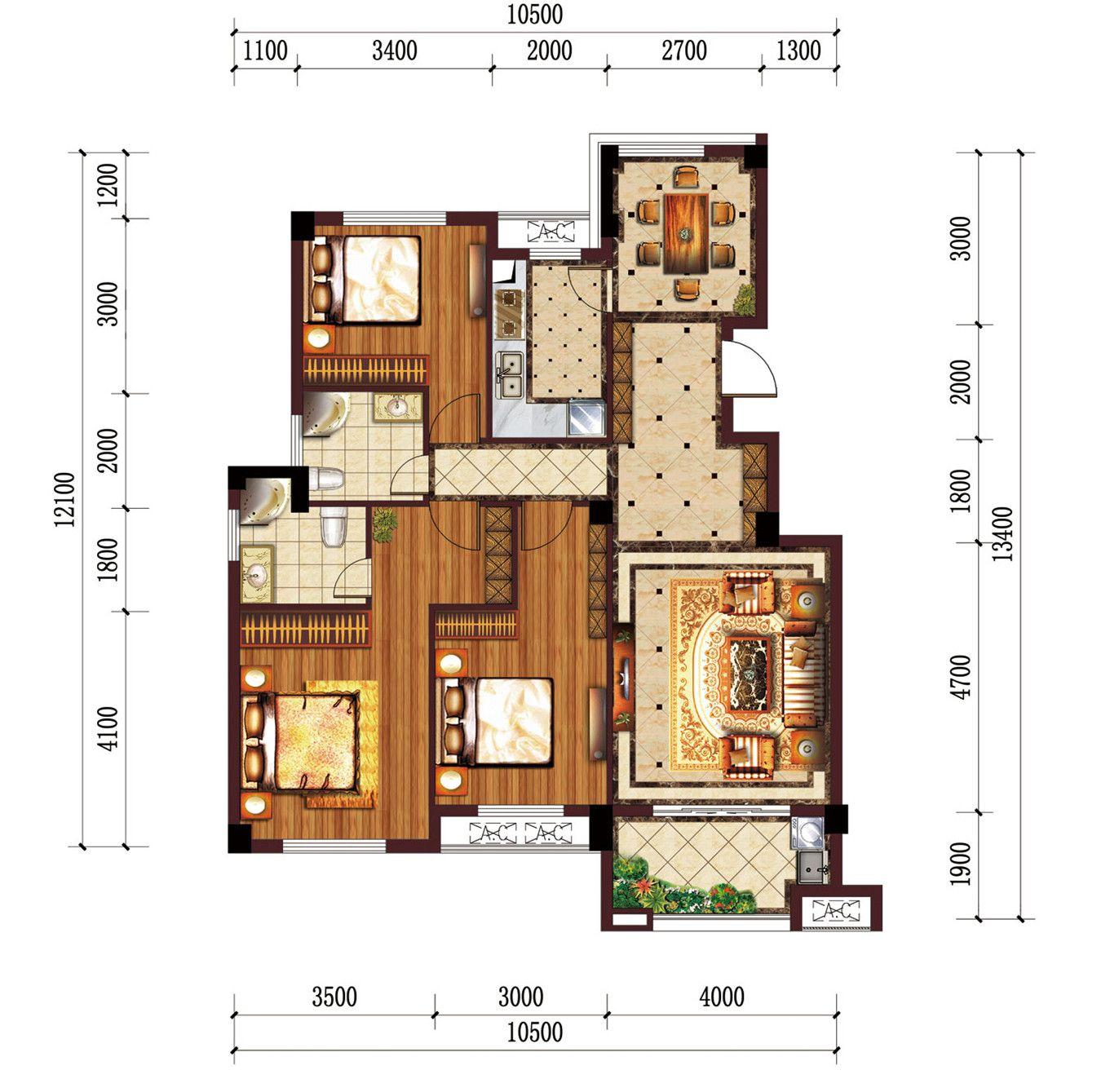 公园道B区御湖F3室2厅117.04平米