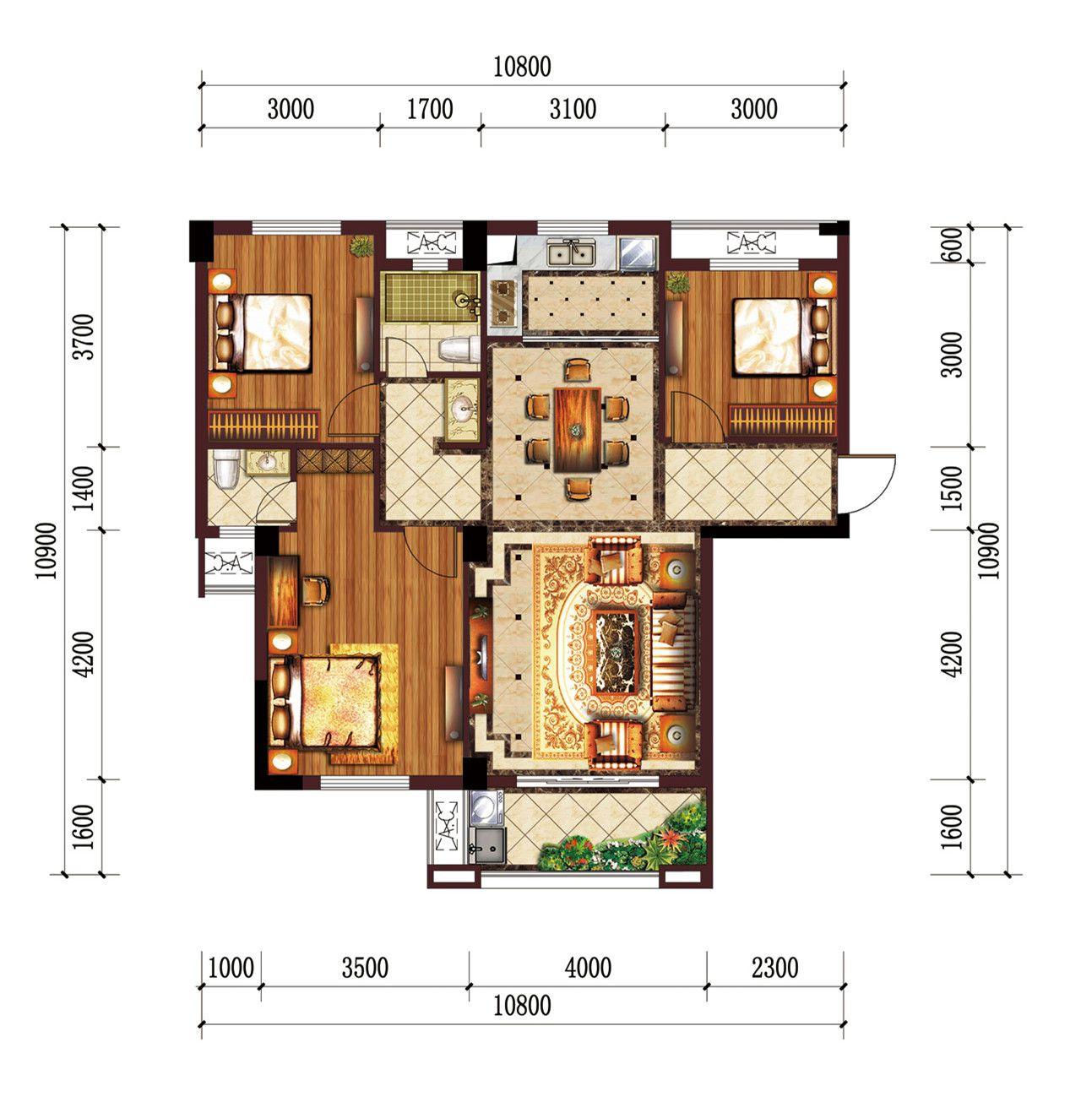 公园道B区御湖H3室2厅106.39平米