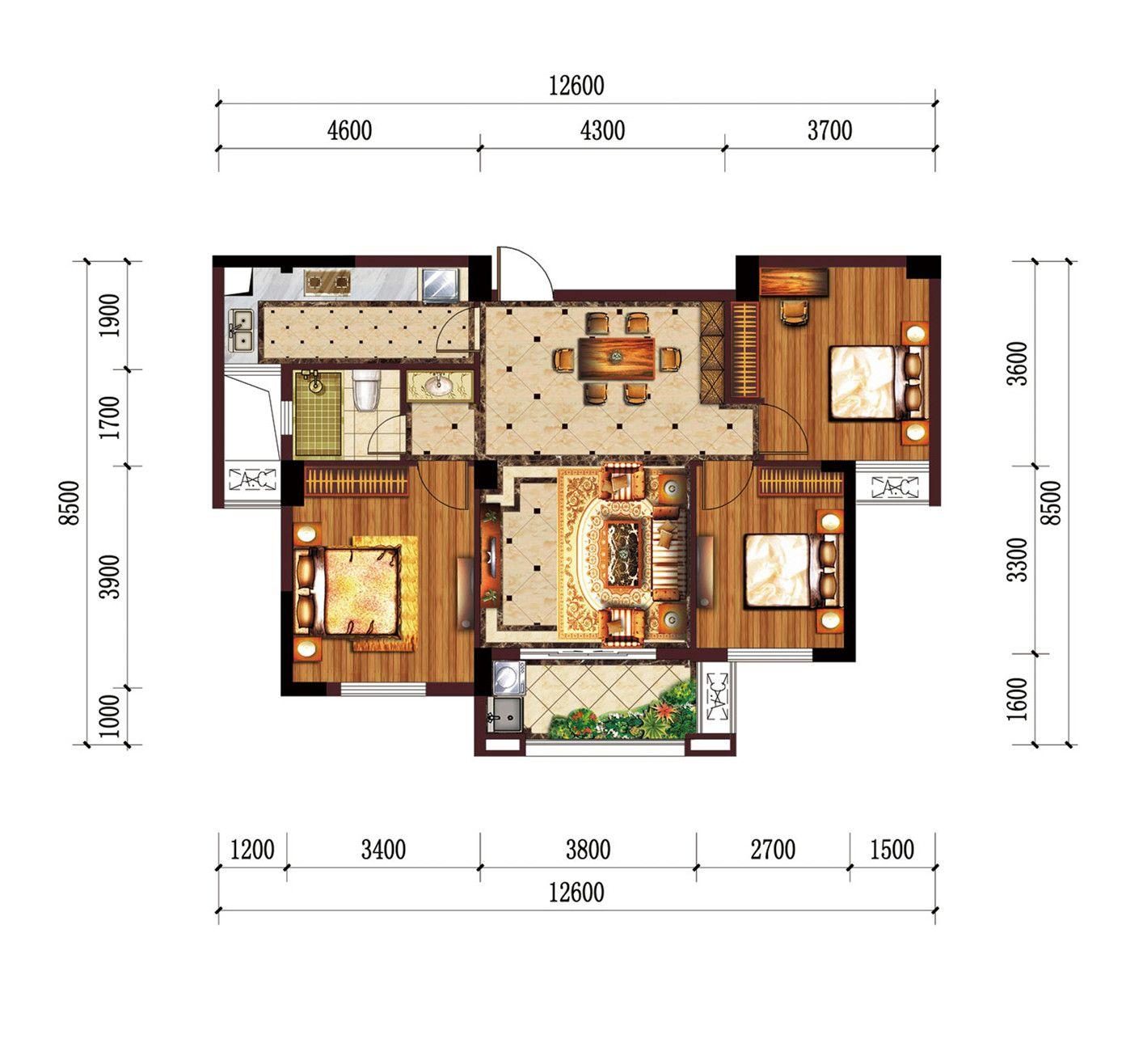 公园道B区御湖J3室2厅94.85平米