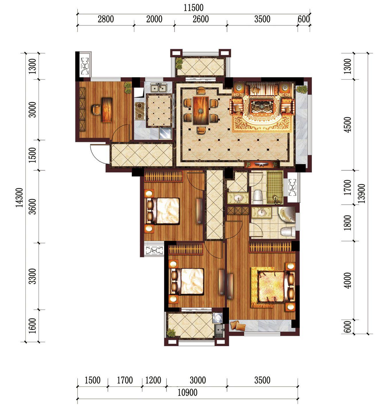 公园道B区御湖K4室2厅123.06平米