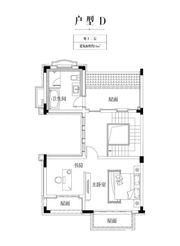 金科庐州樾D户型地上三层2室54㎡