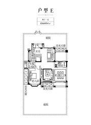 金科庐州樾E户型地上一层1室2厅95㎡