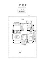 金科庐州樾F户型地上一层1室2厅100㎡