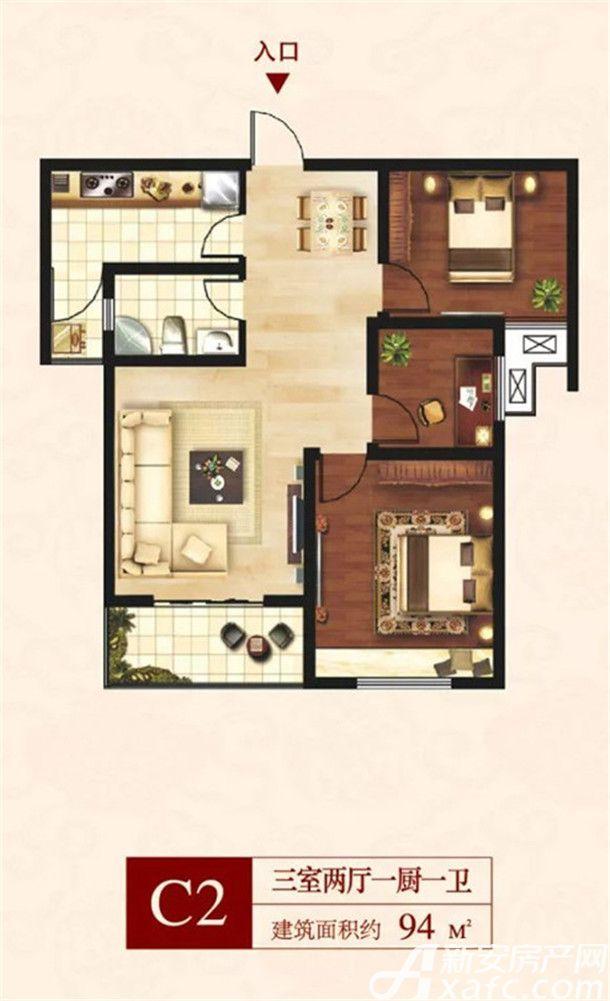 通和凤凰熙岸C23室2厅94平米