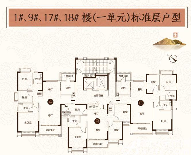 恒大悦府1#9#17#18#户型3室2厅121平米