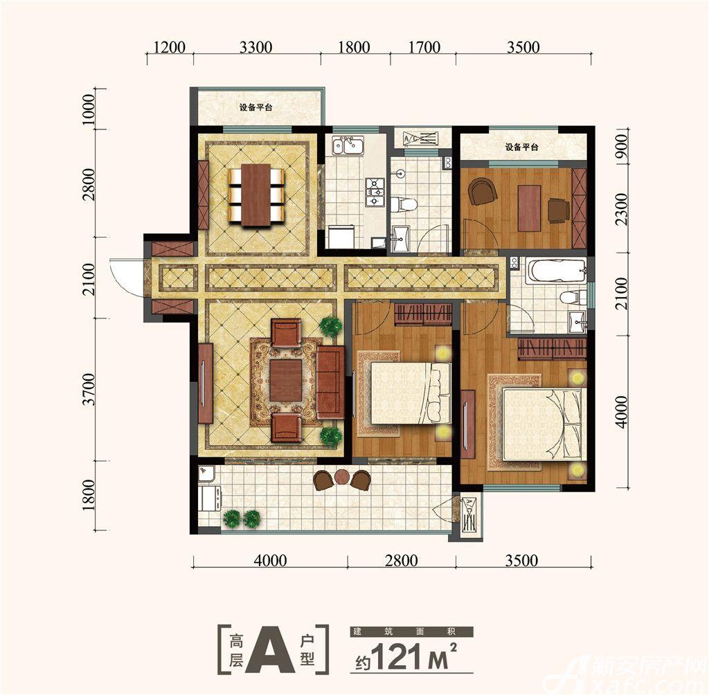 金大地紫金公馆A3室2厅121平米
