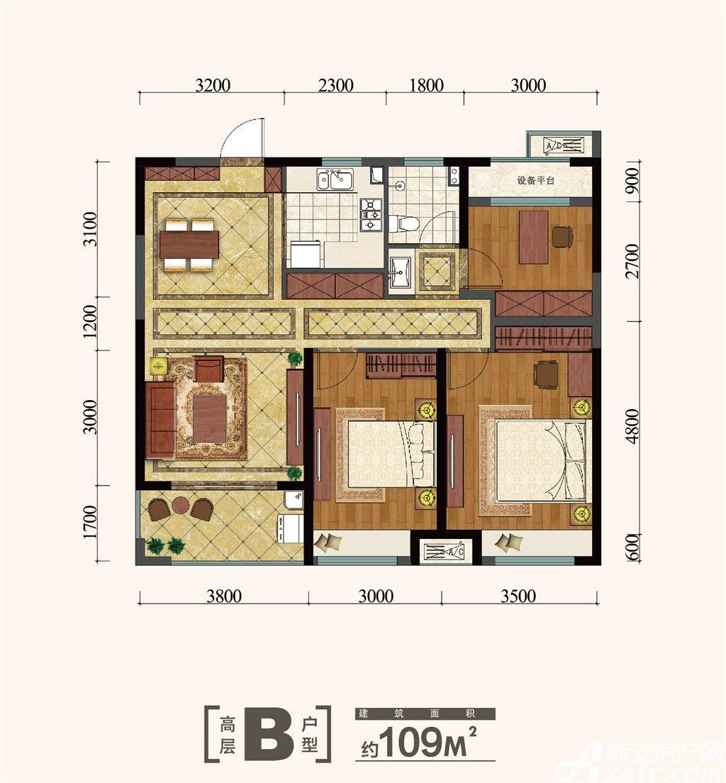 金大地紫金公馆B3室2厅109平米