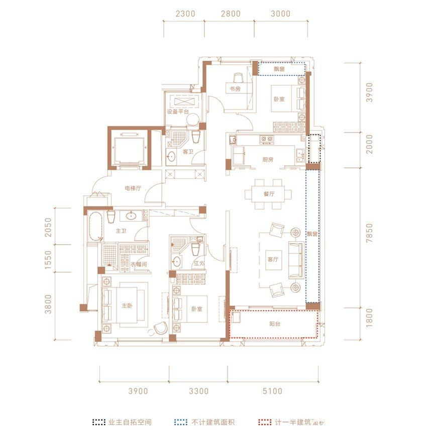 融创合肥壹号院5#-01户型4室2厅165平米