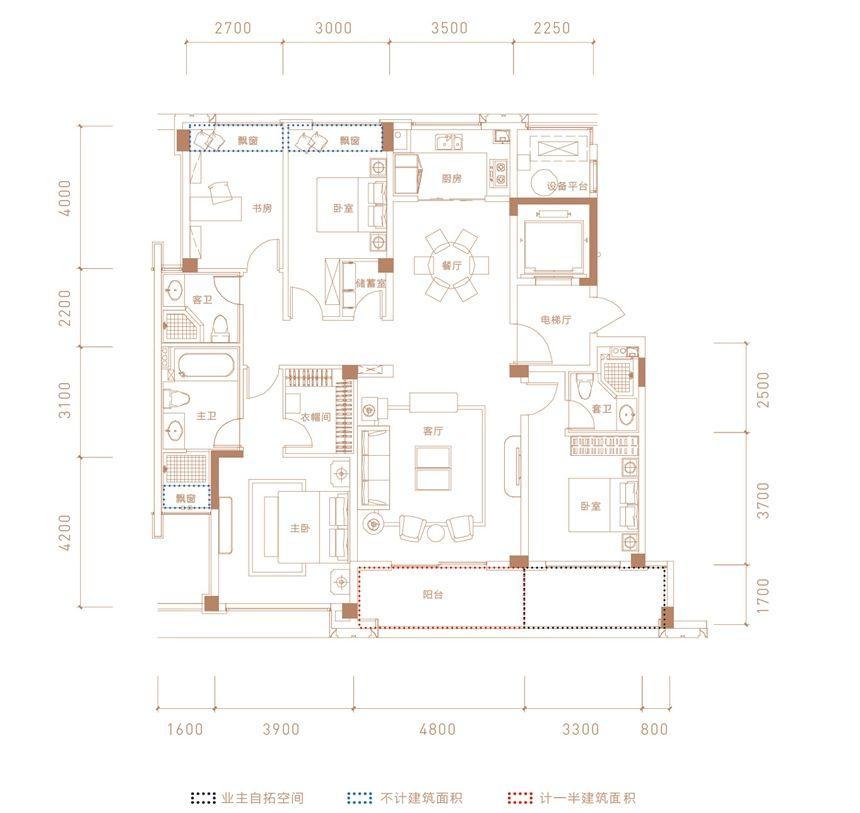 融创合肥壹号院5#-02户型4室2厅167平米