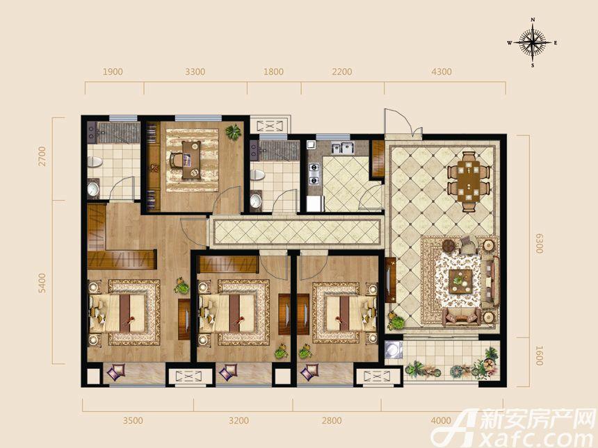 逸龙山庄G户型4室2厅131.4平米