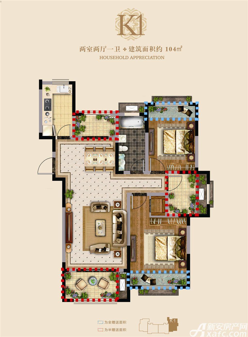 高速铜都天地G7#K12室2厅104平米