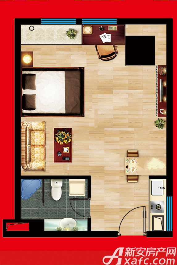 云鼎国际B座45平户型1室45平米