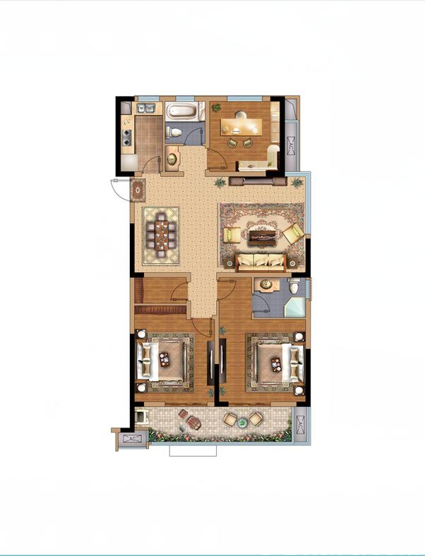 拓基鼎元里东边户3室2厅123平米