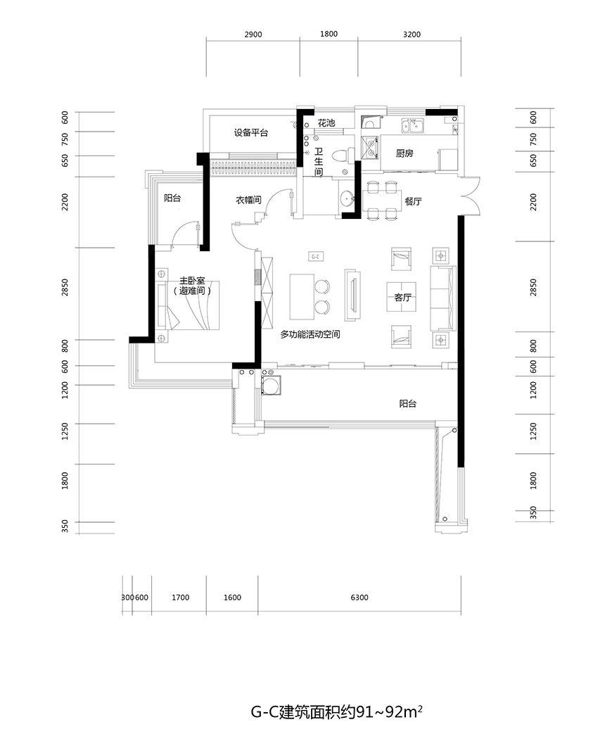 文一云溪湾G-C2室2厅91平米